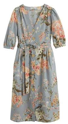 MANGO Floral linen-blend dress