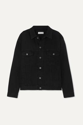 Balenciaga Oversized Embroidered Denim Jacket - Black