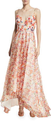 Badgley Mischka Beaded Floral Organza High-Low Gown