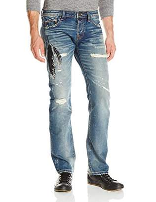 Cult of Individuality Men's Rebel Straight Leg Jean with Feather Embroidery