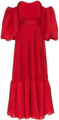 Johanna Ortiz Señora Maria Rosa Red Silk-Blend Dress