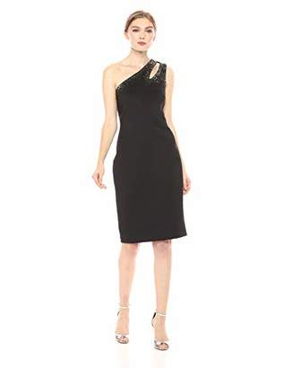 Calvin Klein Women's One Shoulder Embellished Sheath with Strap Cut Out Dress