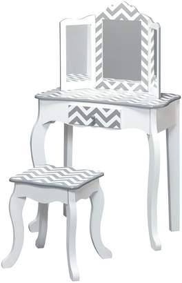 Teamson Kids Fashion Prints Vanity Table & Stool Set