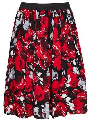 Evans Scarlett & Jo Red Rose Print Skirt