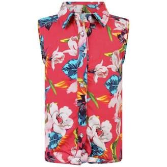 GUESS GuessGirls Pink Floral Tie Up Sleeveless Shirt