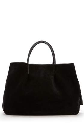 Milly Astor Ruffle Suede Pinched Tote