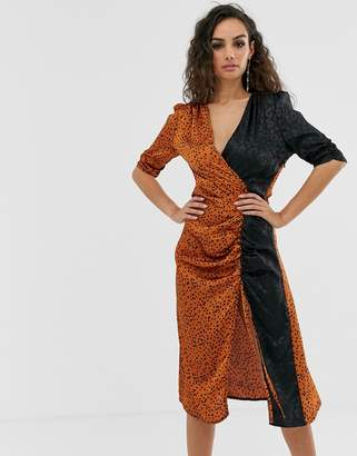 Outrageous Fortune ruched midi dress in mixed leopard print