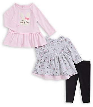 Little Me Baby Girl's Three-Piece Bunny Raglan Top, Printed Top and Pants Set