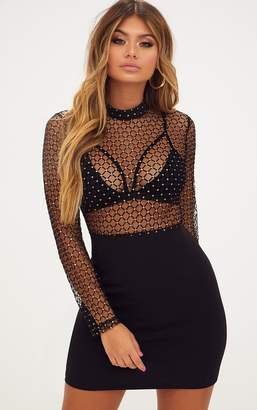 3b2fe961ce1a PrettyLittleThing Black Criss Cross Mesh Top Bodycon Dress