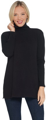 Lisa Rinna Collection Brushed Hacci Mock-Neck Top with Back