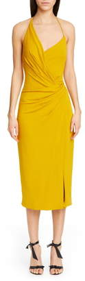 Cushnie Asymmetrical Halter Midi Dress
