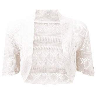 RIDDLED WITH STYLE Womens Crochet Short Sleeve Bolero Shrug#( Crochet Short Sleeves Bolero Shrug#UK 12-14#Womens)