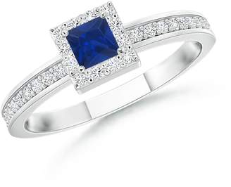 Angara.com September Birthstone - Square Blue Sapphire Stackable Ring with Diamond Halo in 14K White Gold (3mm Blue Sapphire)