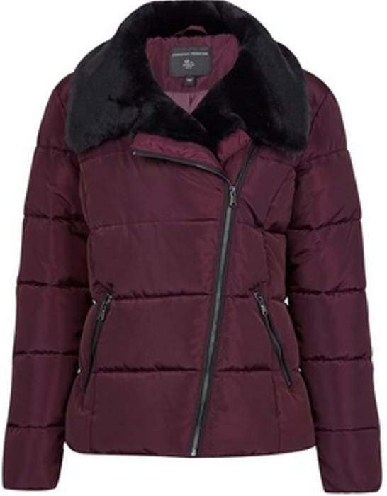 Womens Berry Red Asymmetric Faux Fur Collar Padded Jacket