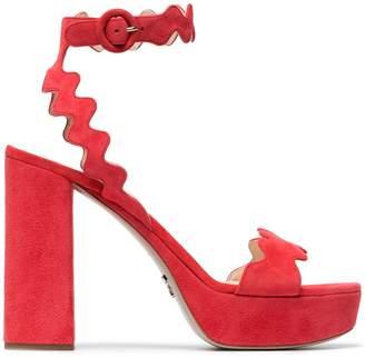 Prada Red 115 suede platform sandals