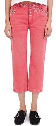 The Kooples Studded Cropped Jeans in Red Washed