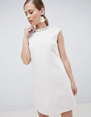 Forever Unique Embellished Neck Mini Dress