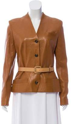 Christian Dior Leather Belted Jacket