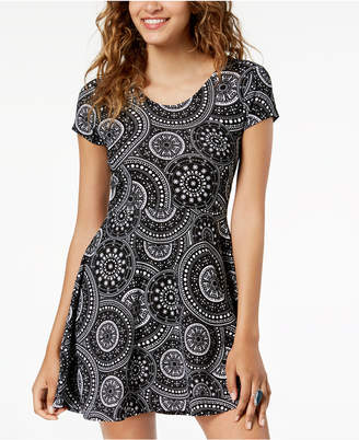 Planet Gold Juniors' Printed Double-Scoop Skater Dress