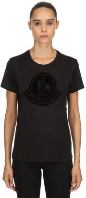 Moncler Logo Velour Cotton T-Shirt