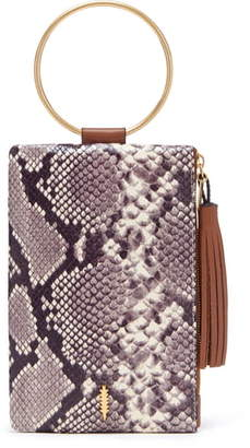 THACKER Nolita Snake Embossed Leather Ring Handle Clutch