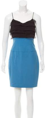 Black Halo Ruffled Silk Dress