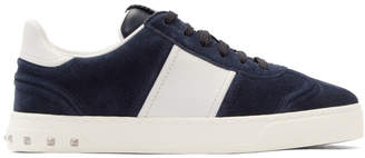 Valentino Navy and White Garavani Suede Flycrew Sneakers
