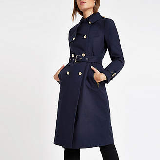 River Island Navy double breasted belted trench coat