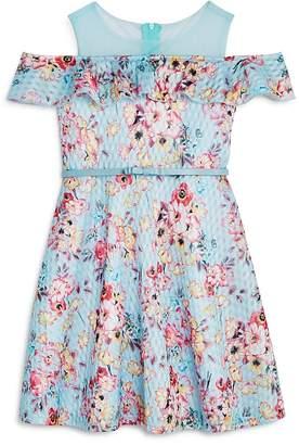Us Angels Girls' Printed Floral Skater Dress with Belt - Little Kid