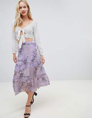 Oasis midi skirt with tiered detail in lilac print