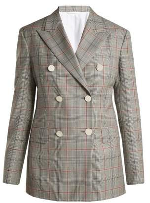 Calvin Klein Wall Street Prince Of Wales Checked Wool Jacket - Womens - Grey Multi