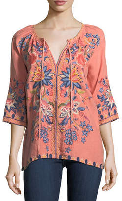 Johnny Was Tivva Embroidered Linen Peasant Top, Plus Size