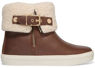 Burberry - Shearling-lined Textured-leather Ankle Boots - Brown $595 thestylecure.com
