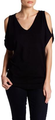 JOSEPH A V-Neck Cold Shoulder Sweater $58 thestylecure.com