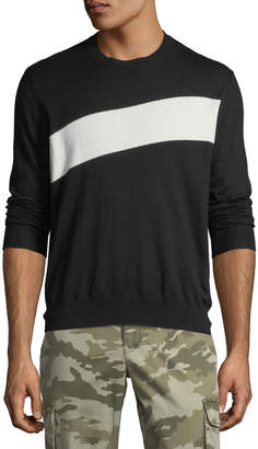 ATM Anthony Thomas Melillo Men's Crewneck Sweater with Stripe