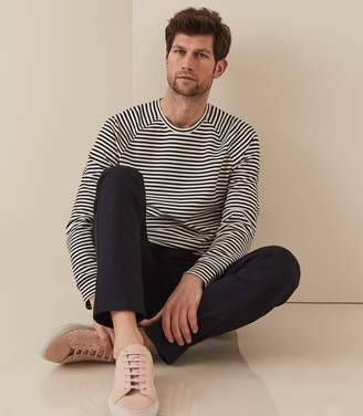 Reiss DIDSBURY STRIPED LONG SLEEVED TOP White/navy