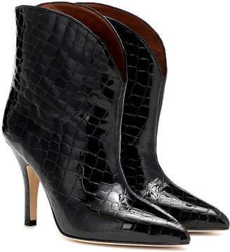 Paris Texas Croc-effect leather ankle boots