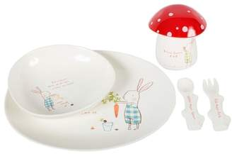 Equipment Maileg Bunny Green Print Melamine Six-Piece Dishes Set