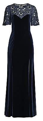 Aidan Mattox Women's Beaded Flutter-Sleeve Velvet Gown