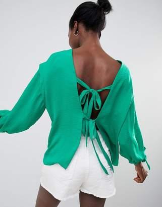 Asos DESIGN T-Shirt With Tie Back Detail In Linen Look