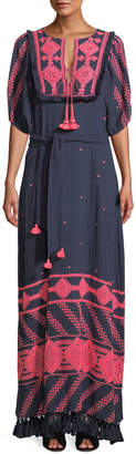 Figue Mela Short-Sleeve Tie-Waist Embroidered Cotton Gauze Long Dress
