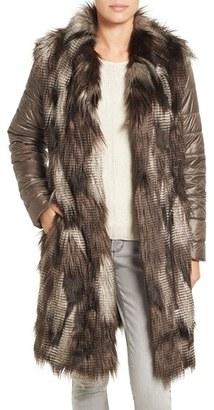 Women's Nic+Zoe Puffer Sleeve Faux Fur Coat $368 thestylecure.com