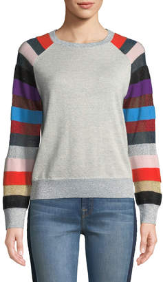 Replica Los Angeles Metallic Cashmere Sweater with Multi-Stripe Sleeves