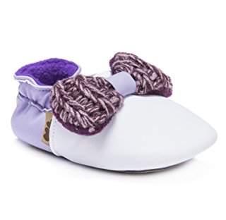 Muk Luks Girls' Baby Soft Shoes-Plum Mary Jane Flat