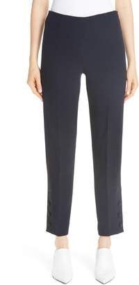 Lela Rose Button Hem Wool Blend Crepe Straight Leg Pants