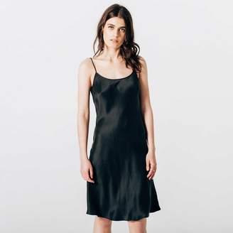 DSTLD Womens Silk Bias Cut Dress in Black
