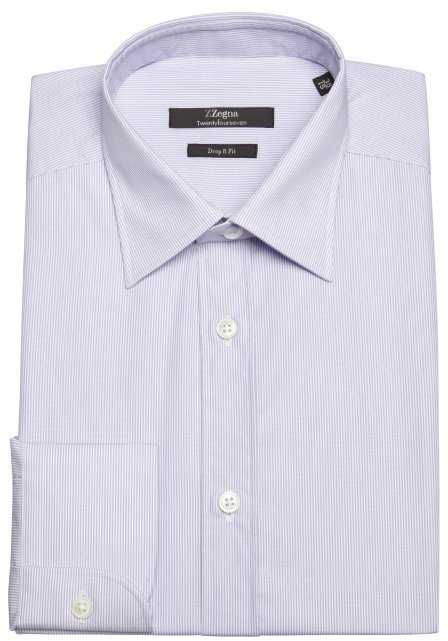 Z Zegna lavender and white pinstripe cotton broadcloth spread collar dress shirt