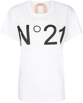 No.21 logo mesh panelled T-shirt
