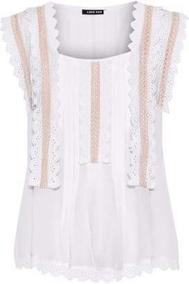 Love Sam Crochet-Trimmed Pintucked Gauze Blouse