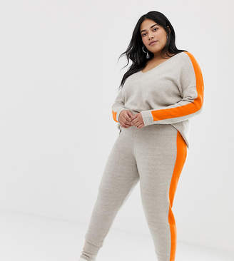 Asos DESIGN Curve co-ord knitted jogger with tipping